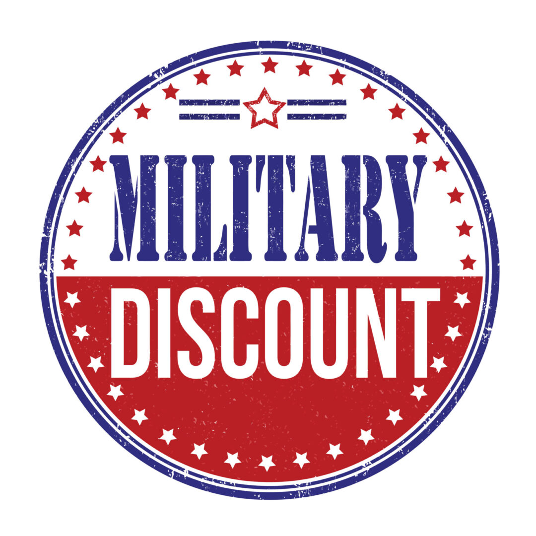 A military discount sign